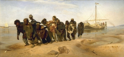 Burlaks (boatmen) on the Volga (painting by Ilya Yefimovich Repin, 1844-1930)